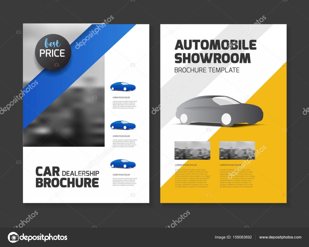 Folleto de concesionario de coches. Salón automóvil — Vector de ...
