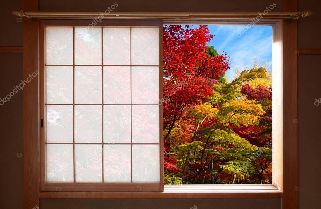 for t de couleurs d automne vu par une fen tre coulissante japonaise ouverte l automne