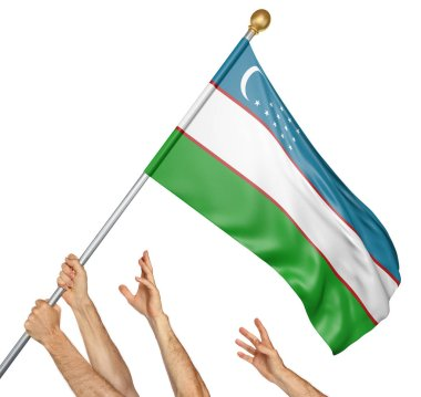 Team of peoples hands raising the Uzbekistan national flag, 3D rendering isolated on white background