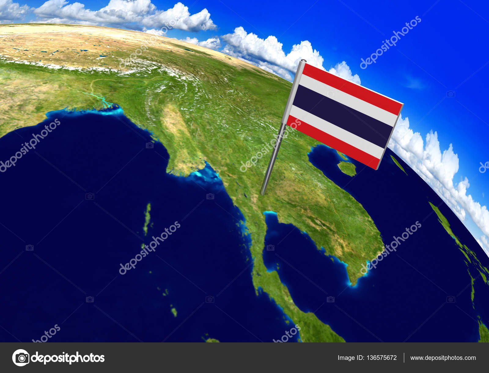 Flag marker over country of thailand on world map 3d rendering 3d world render with the thai flag over the location of thailand parts of this image furnished by nasa photo by kagenmi gumiabroncs Gallery