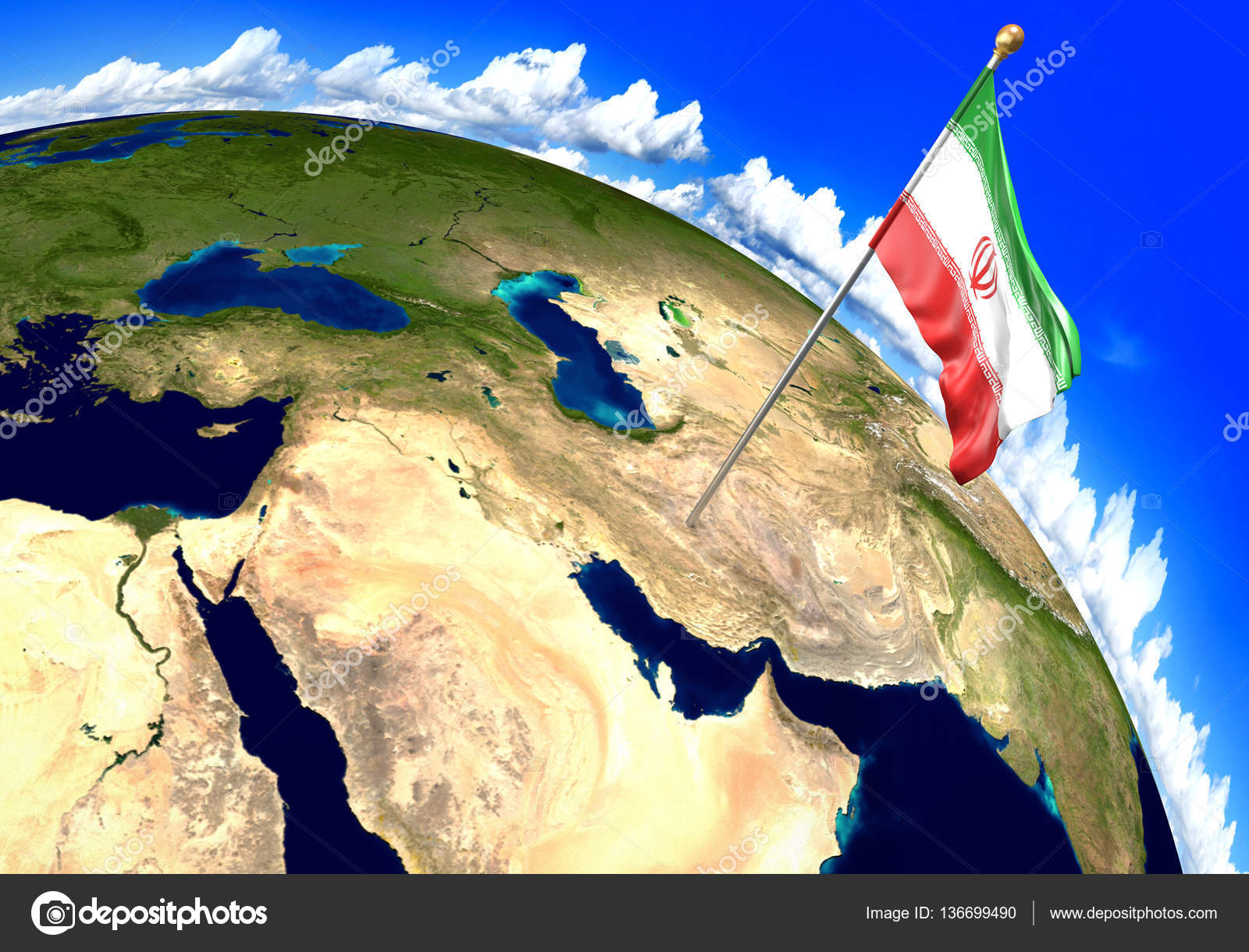 Iran national flag marking the country location on world map 3d 3d render of the national flag of iran over the geographic location of the country on a world map parts of this image furnished by nasa photo by kagenmi gumiabroncs Gallery
