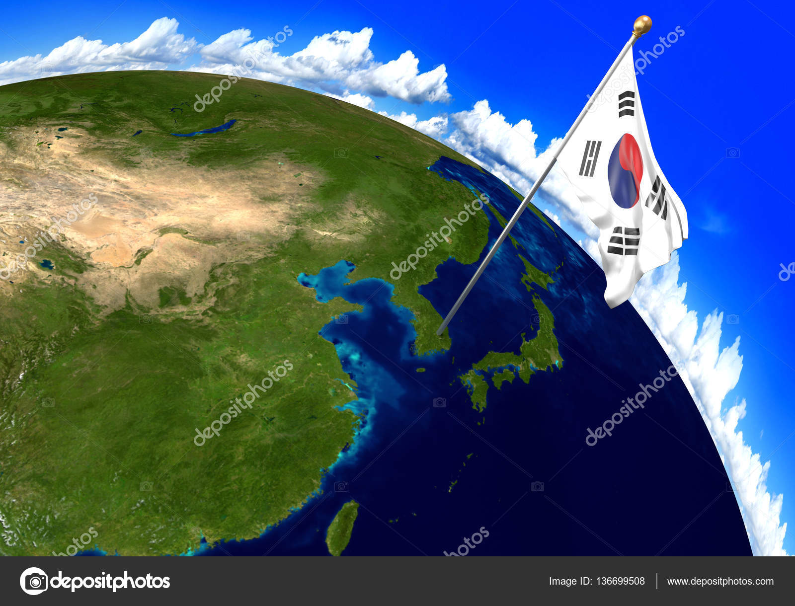 South korea national flag marking the country location on world map 3d render of the national flag of south korea over the geographic location of the country on a world map parts of this image furnished by nasa gumiabroncs Images