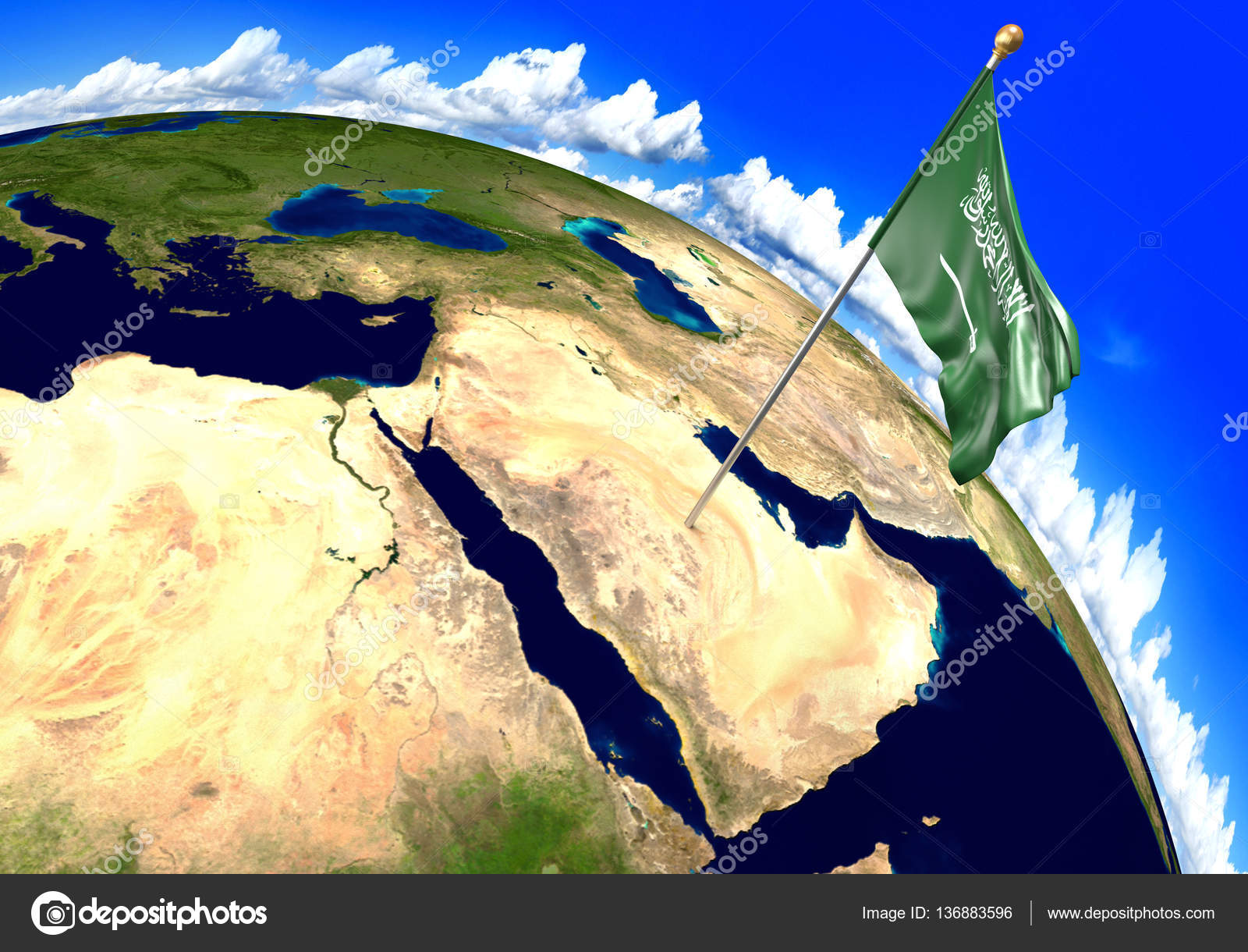 Saudi Arabia National Flag Marking The Country Location On World Map