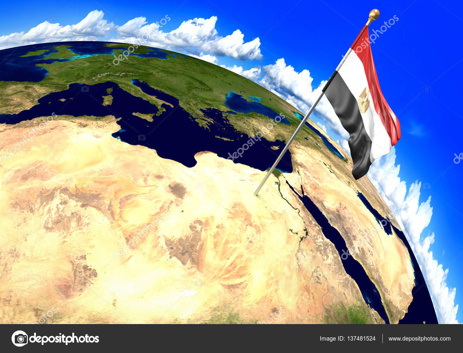 Egypt National Flag Marking The Country Location On World Map D - Egypt location