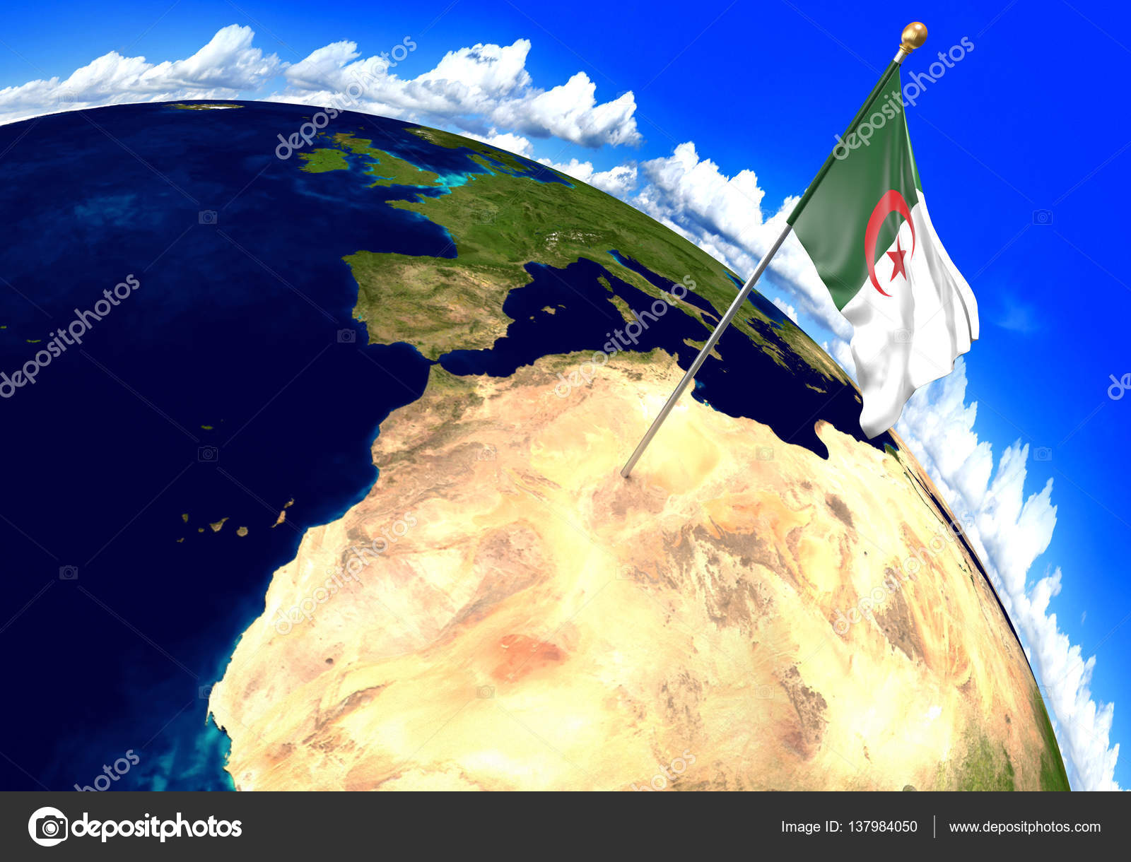 Algeria national flag marking the country location on world map 3D