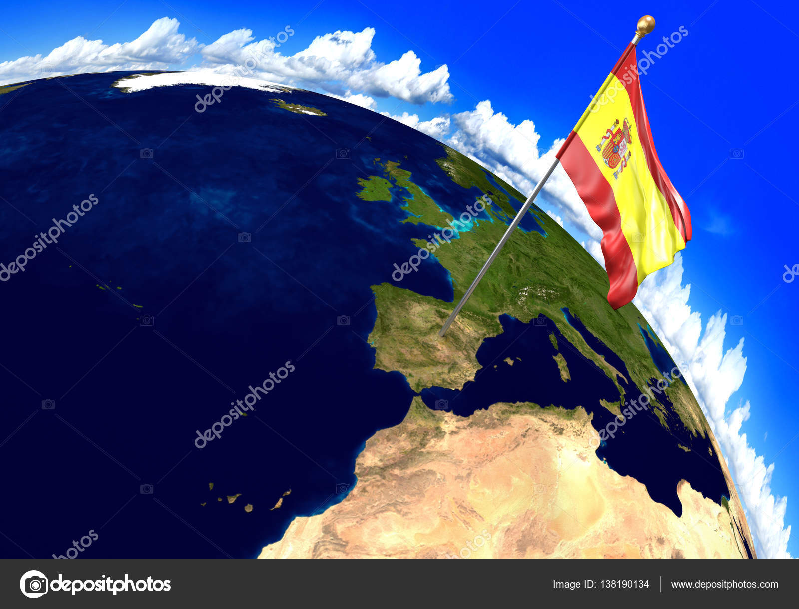 Spain national flag marking the country location on world map 3d 3d render of the national flag of spain over the geographic location of the country on a world map parts of this image furnished by nasa gumiabroncs Image collections