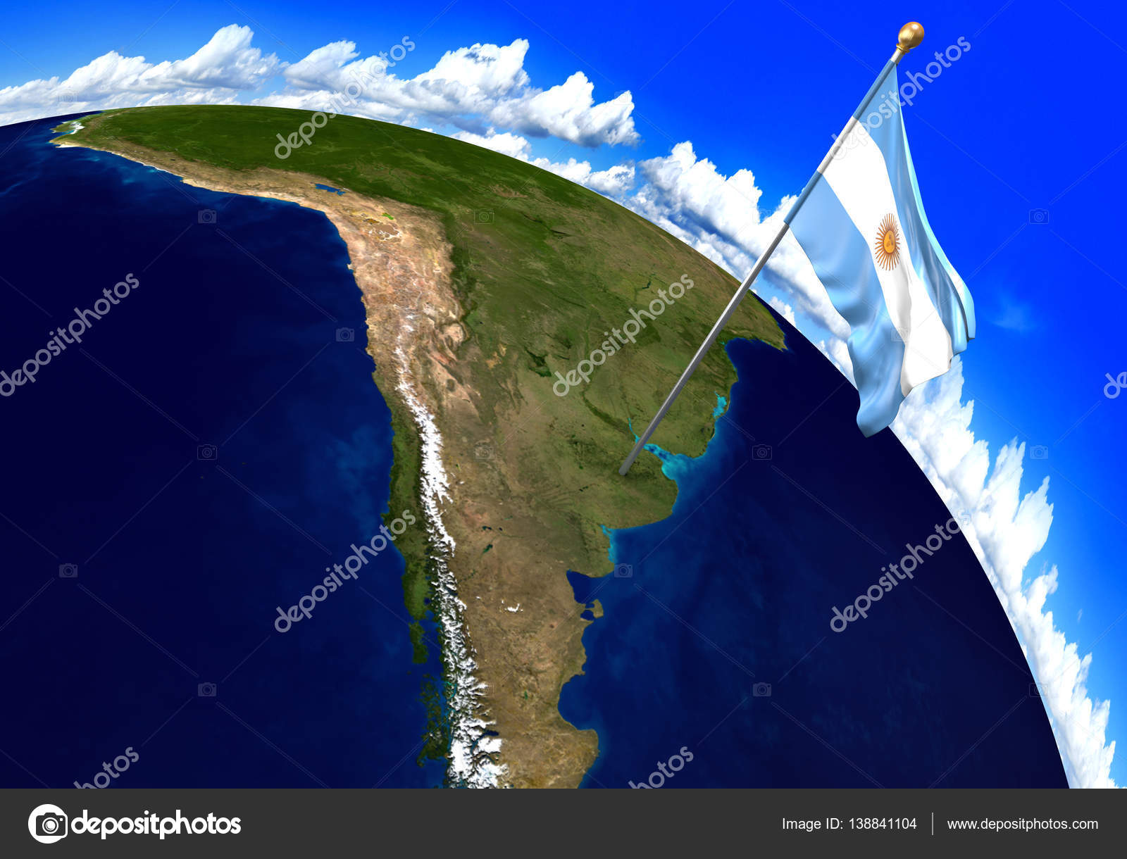 Argentina national flag marking the country location on world map 3d render of the national flag of argentina over the geographic location of the country on a world map parts of this image furnished by nasa gumiabroncs Images
