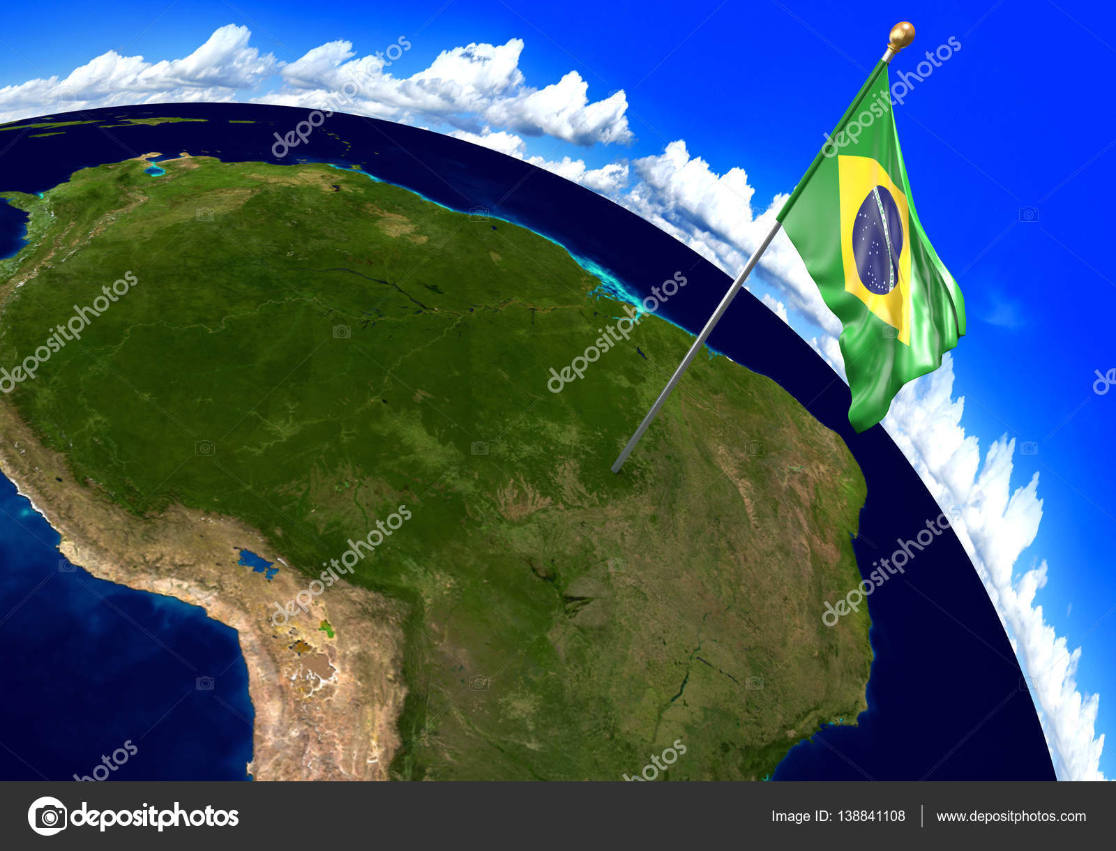 Brazil national flag marking the country location on world map 3d 3d render of the national flag of brazil over the geographic location of the country on a world map parts of this image furnished by nasa gumiabroncs Images
