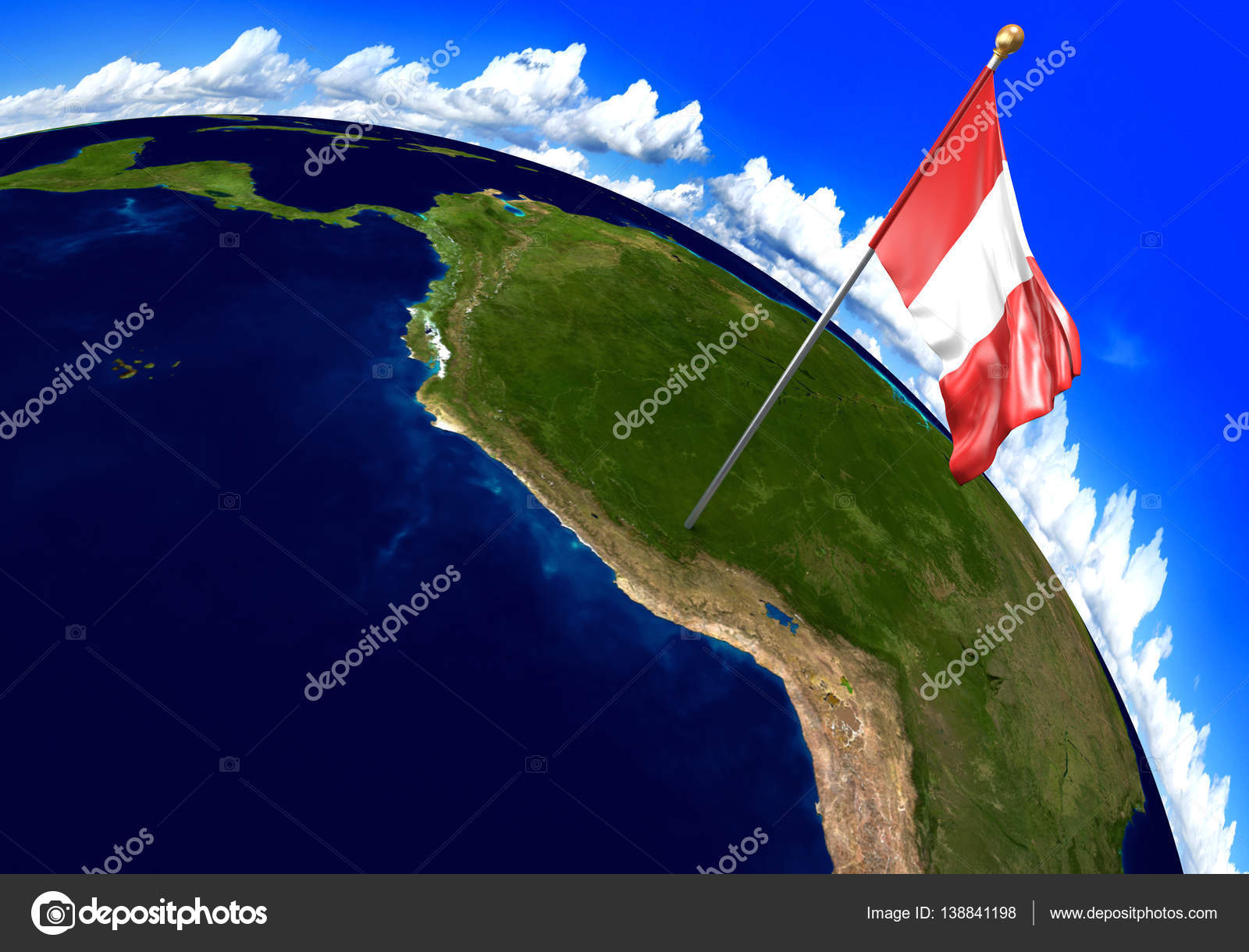 Peru national flag marking the country location on world map 3d 3d render of the national flag of peru over the geographic location of the country on a world map parts of this image furnished by nasa photo by kagenmi sciox Choice Image