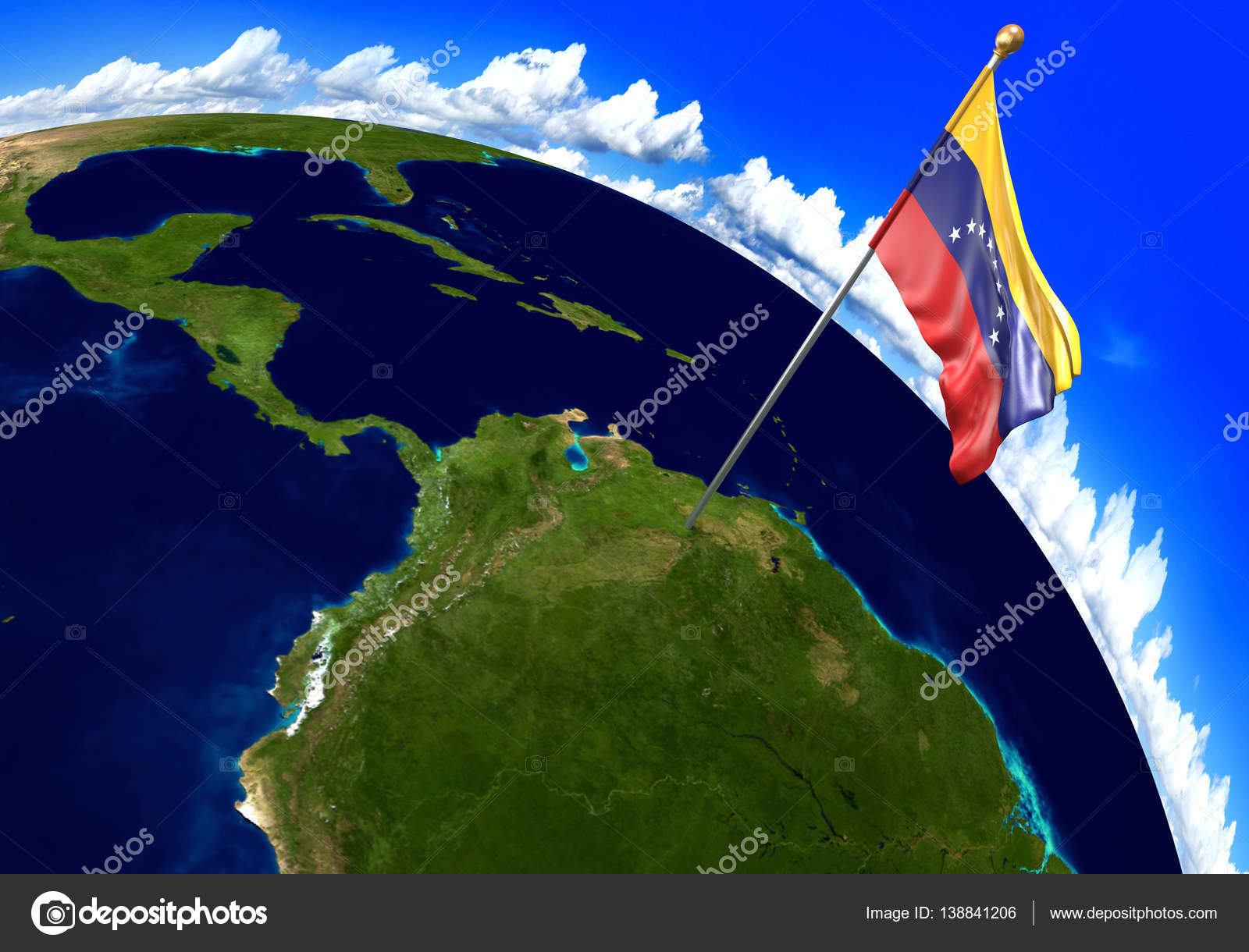 Venezuela national flag marking the country location on world map 3d render of the national flag of venezuela over the geographic location of the country on a world map parts of this image furnished by nasa gumiabroncs