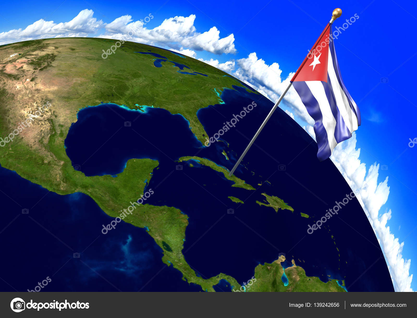 3D Render Of The National Flag Of Cuba Over The Geographic Location Of The  Country On A World Map. Parts Of This Image Furnished By NASA. U2014 Photo By  Kagenmi