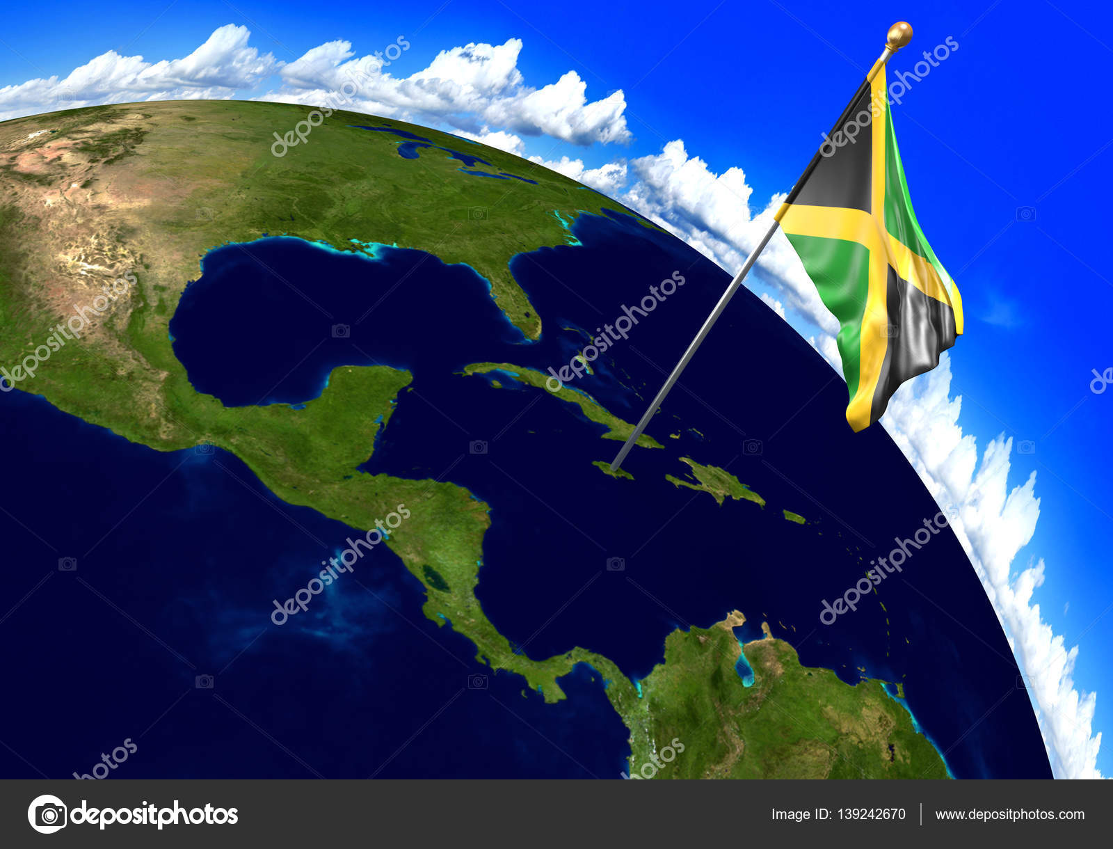 Jamaica national flag marking the country location on world map 3d 3d render of the national flag of jamaica over the geographic location of the country on a world map parts of this image furnished by nasa gumiabroncs