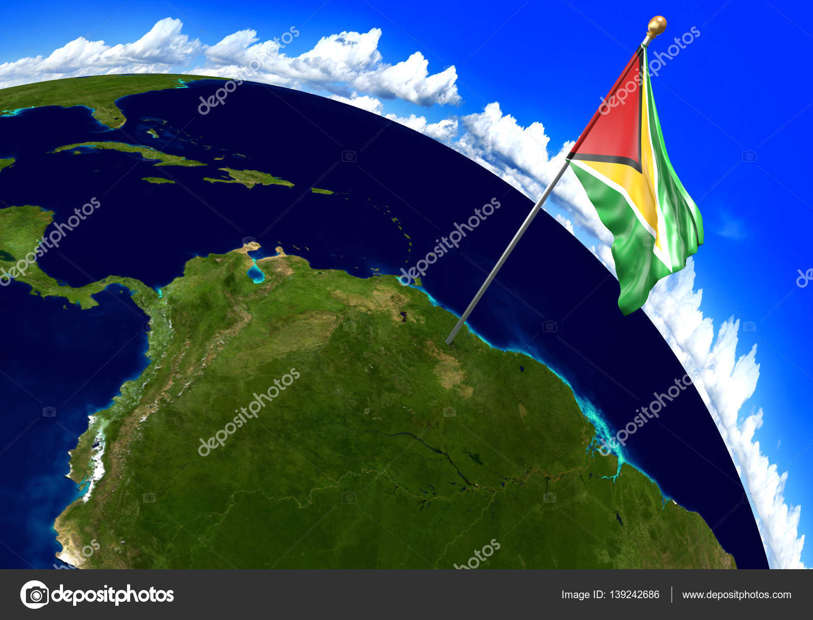Guyana Location On World Map.Guyana National Flag Marking The Country Location On World Map 3d