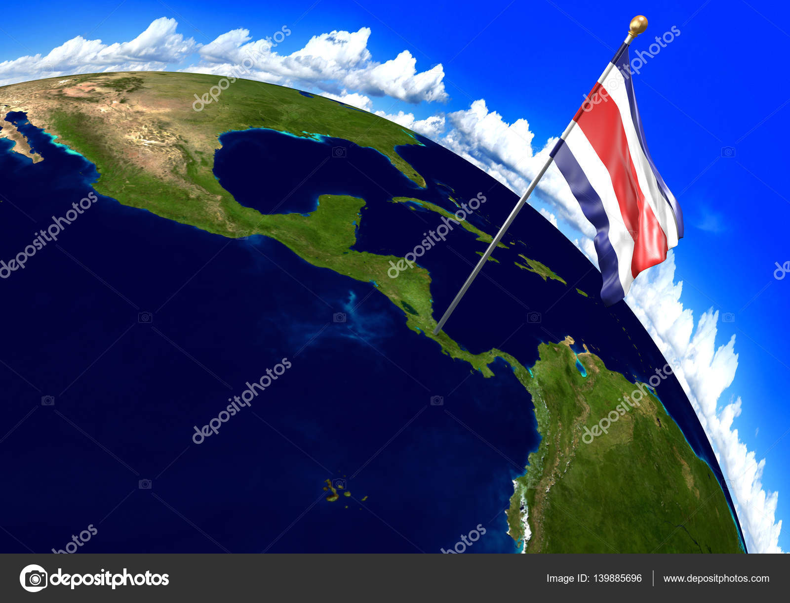 Costa rica national flag marking the country location on world map 3d render of the national flag of costa rica over the geographic location of the country on a world map parts of this image furnished by nasa gumiabroncs Images
