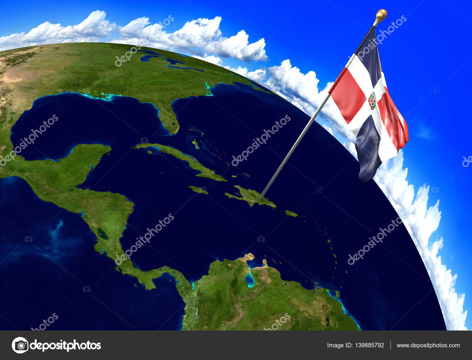 Dominican Republic national flag marking the country location on