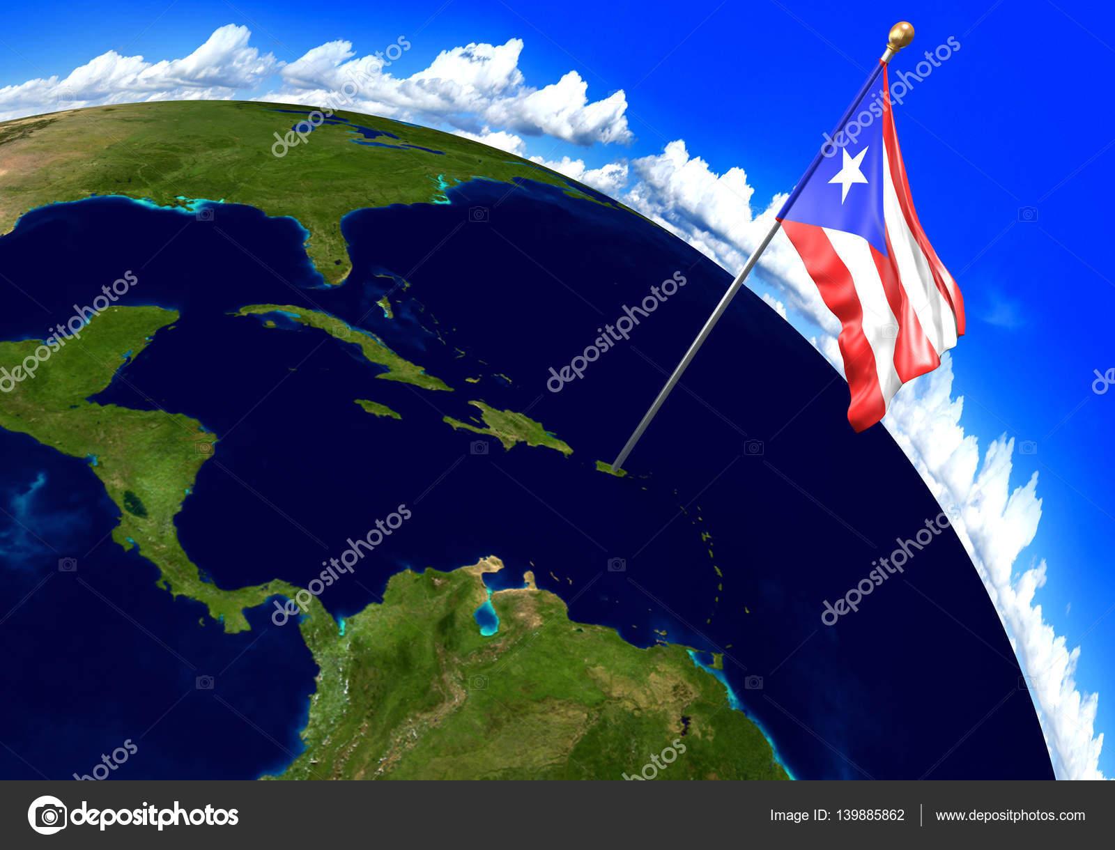 Puerto Rico Mapa Mundi.Mapa De Puerto Rico 3d Bandera Nacional De Puerto Rico
