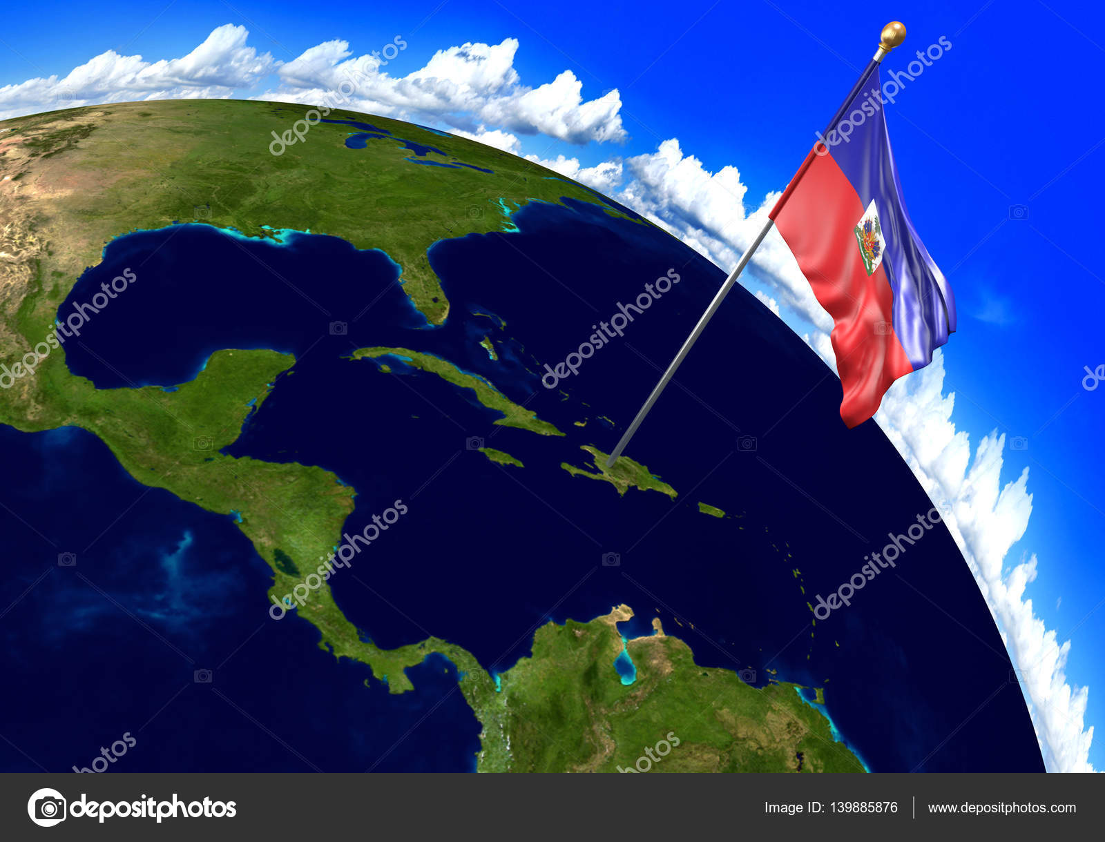 Haiti national flag marking the country location on world map 3d 3d render of the national flag of haiti over the geographic location of the country on a world map parts of this image furnished by nasa gumiabroncs Images