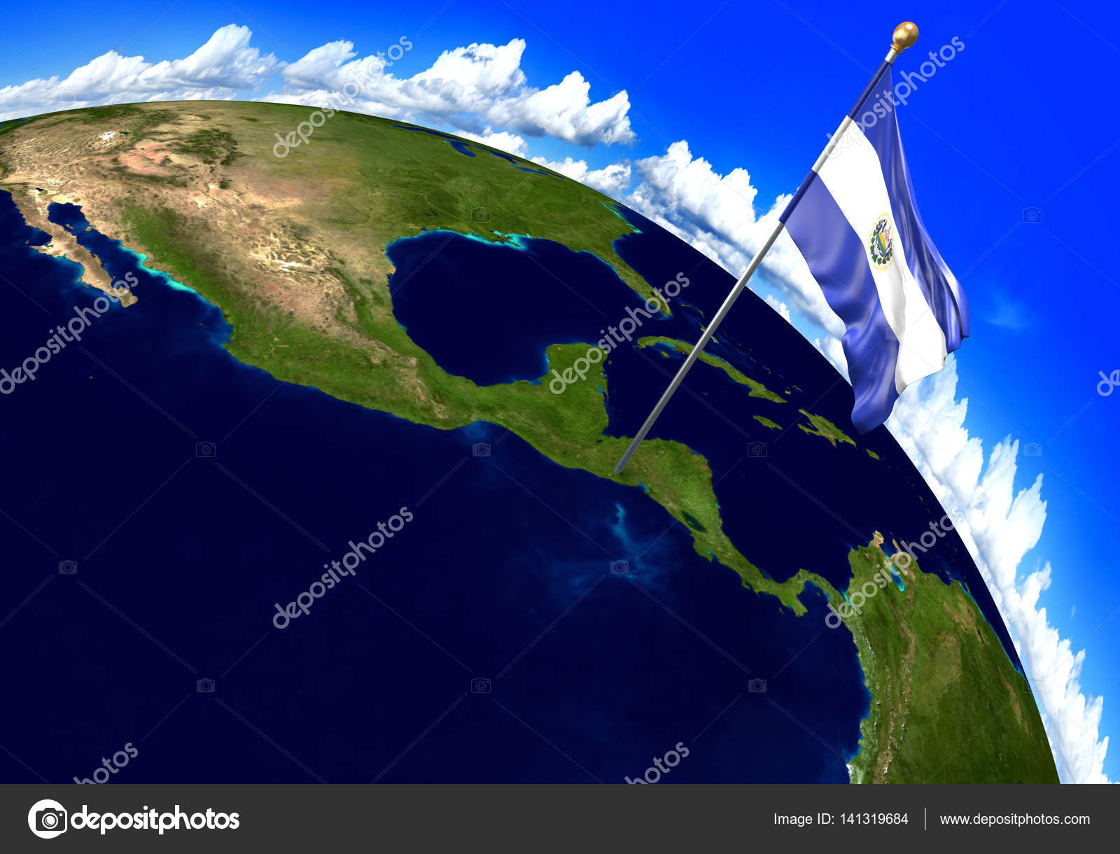 El salvador national flag marking the country location on world 3d render of the national flag of el salvador over the geographic location of the country on a world map parts of this image furnished by nasa gumiabroncs Image collections