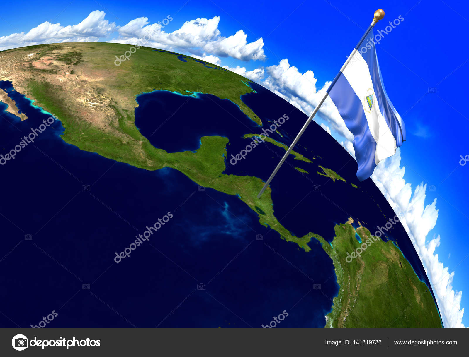 Nicaragua National Flag Marking The Country Location On World Map - Nicaragua location on world map