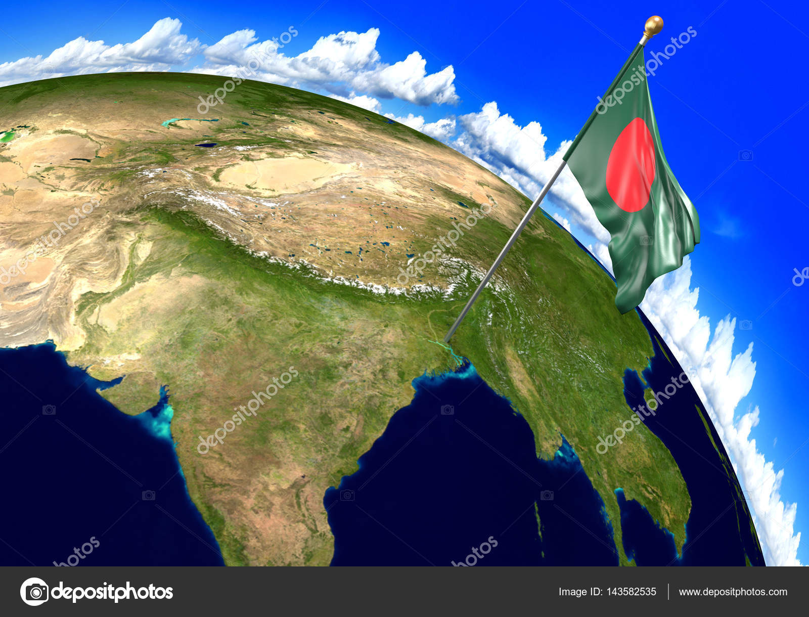 Bangladesh national flag marking the country location on world map 3d render of the national flag of bangladesh over the geographic location of the country on a world map parts of this image furnished by nasa gumiabroncs Images