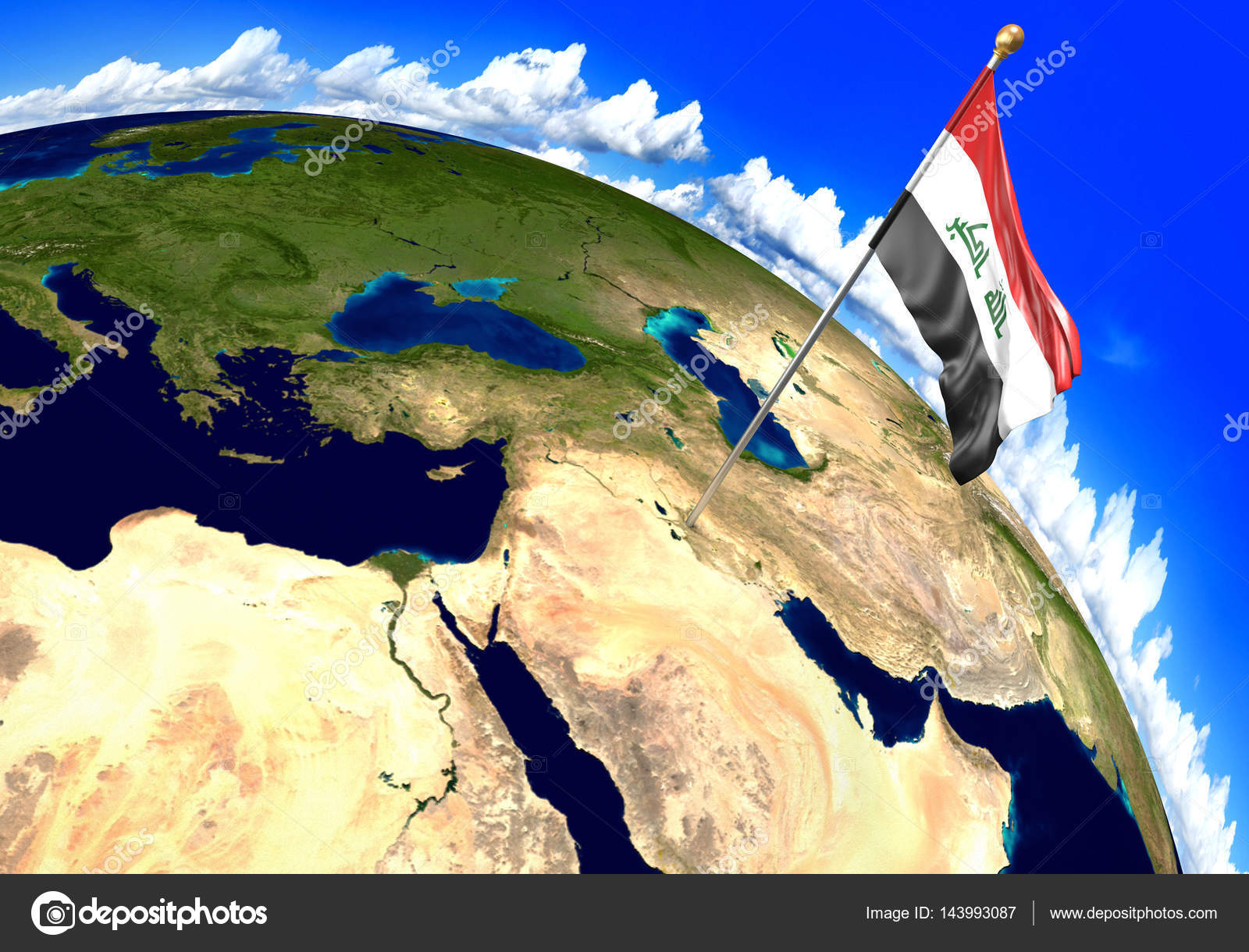 Iraq national flag marking the country location on world map 3d 3d render of the national flag of iraq over the geographic location of the country on a world map parts of this image furnished by nasa photo by kagenmi gumiabroncs Images