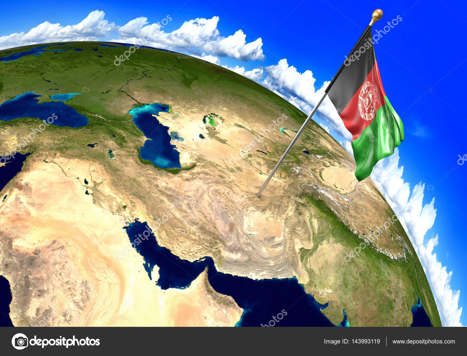 Afghanistan national flag marking the country location on world 3d render of the national flag of afghanistan over the geographic location of the country on a world map parts of this image furnished by nasa gumiabroncs Images