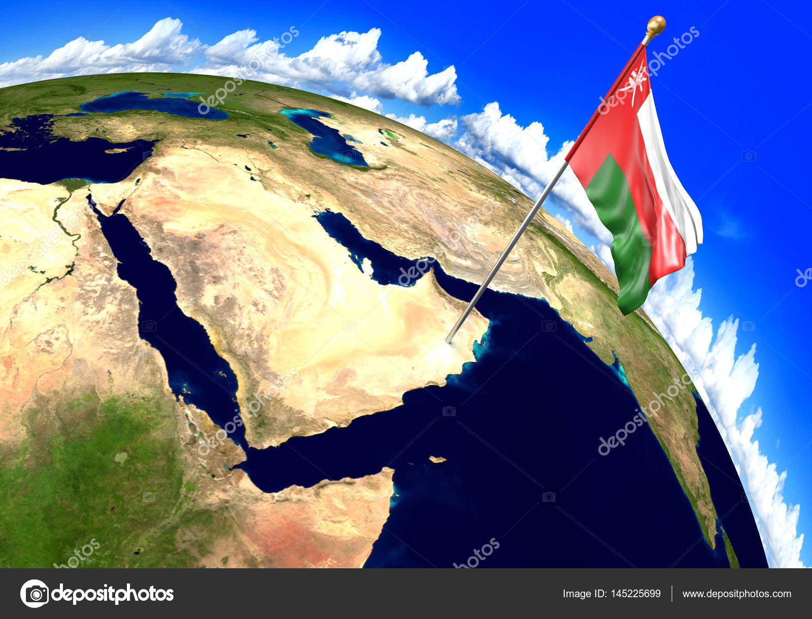 Oman national flag marking the country location on world map 3D