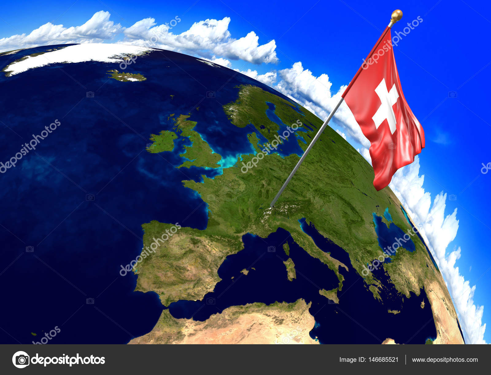 Picture of: Switzerland National Flag Marking The Country Location On World Map 3d Rendering Stock Photo C Kagenmi 146685521
