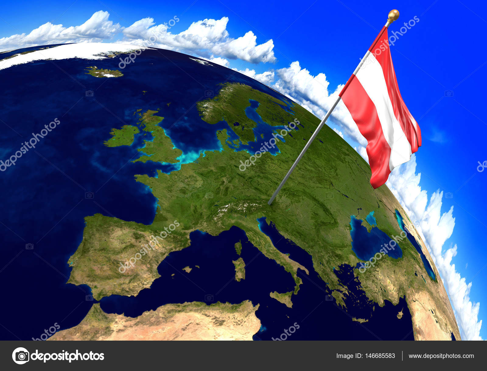 Austria national flag marking the country location on world map 3d 3d render of the national flag of austria over the geographic location of the country on a world map parts of this image furnished by nasa gumiabroncs Images