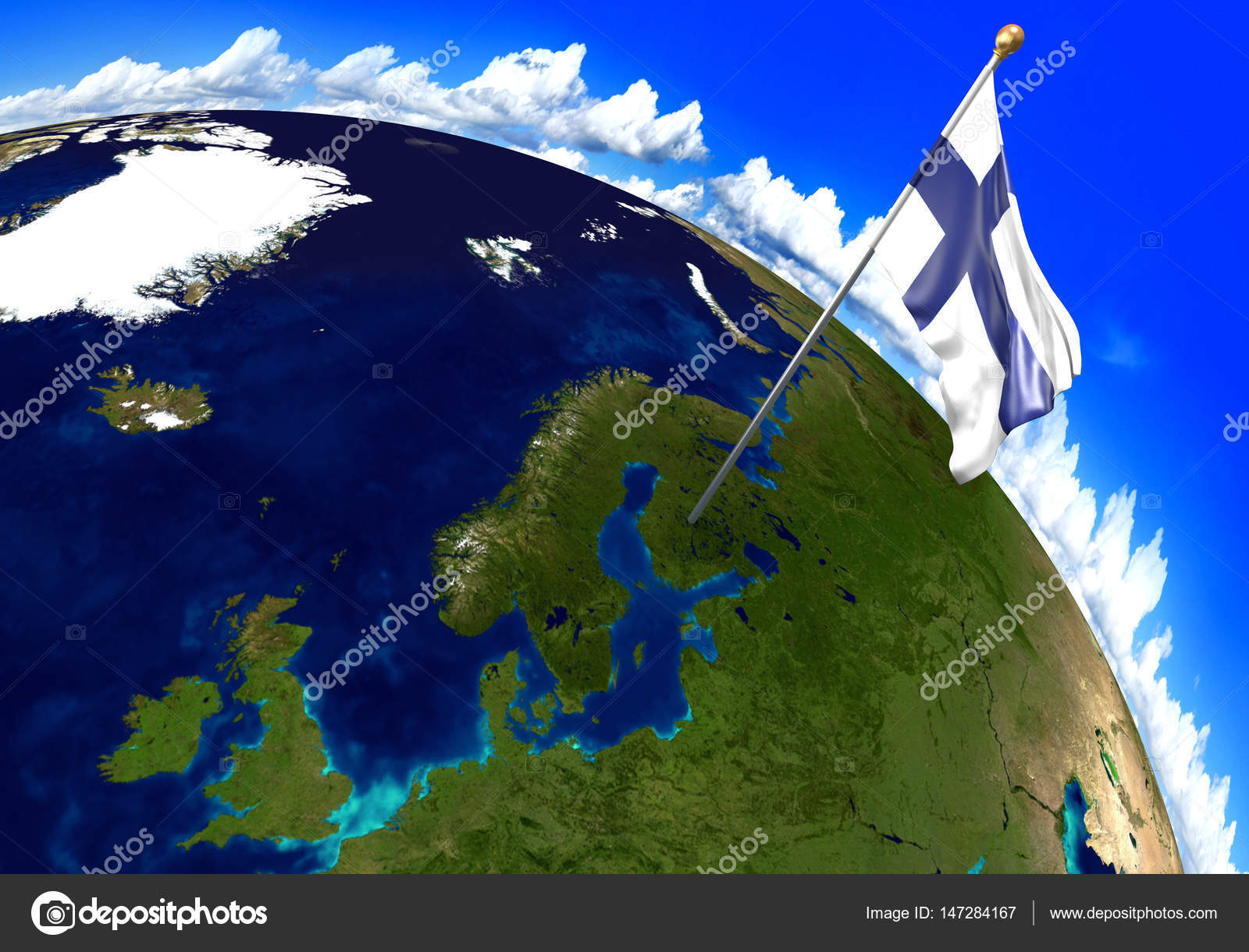 Finland national flag marking the country location on world map 3d 3d render of the national flag of finland over the geographic location of the country on a world map parts of this image furnished by nasa gumiabroncs Gallery