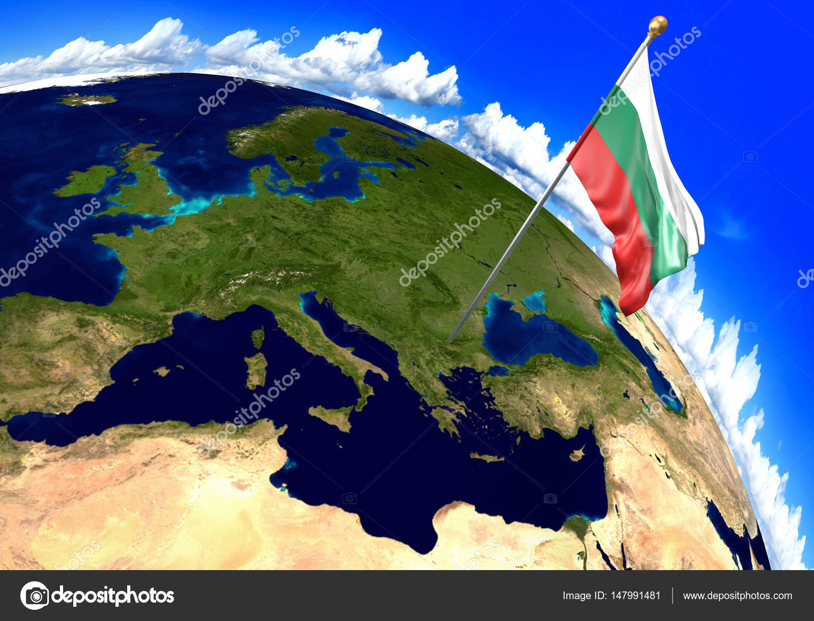 Bulgaria national flag marking the country location on world map 3d render of the national flag of bulgaria over the geographic location of the country on a world map parts of this image furnished by nasa gumiabroncs Images