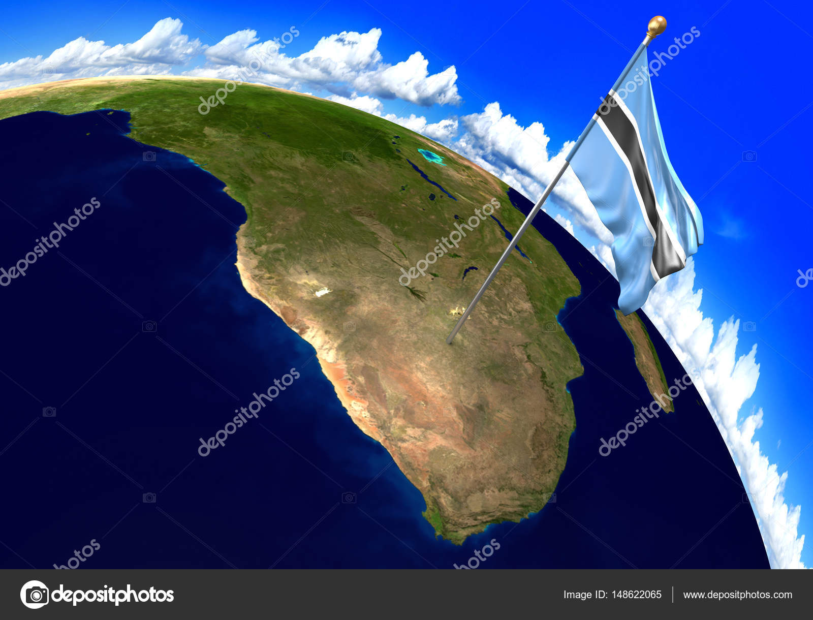 Botswana national flag marking the country location on world map 3D