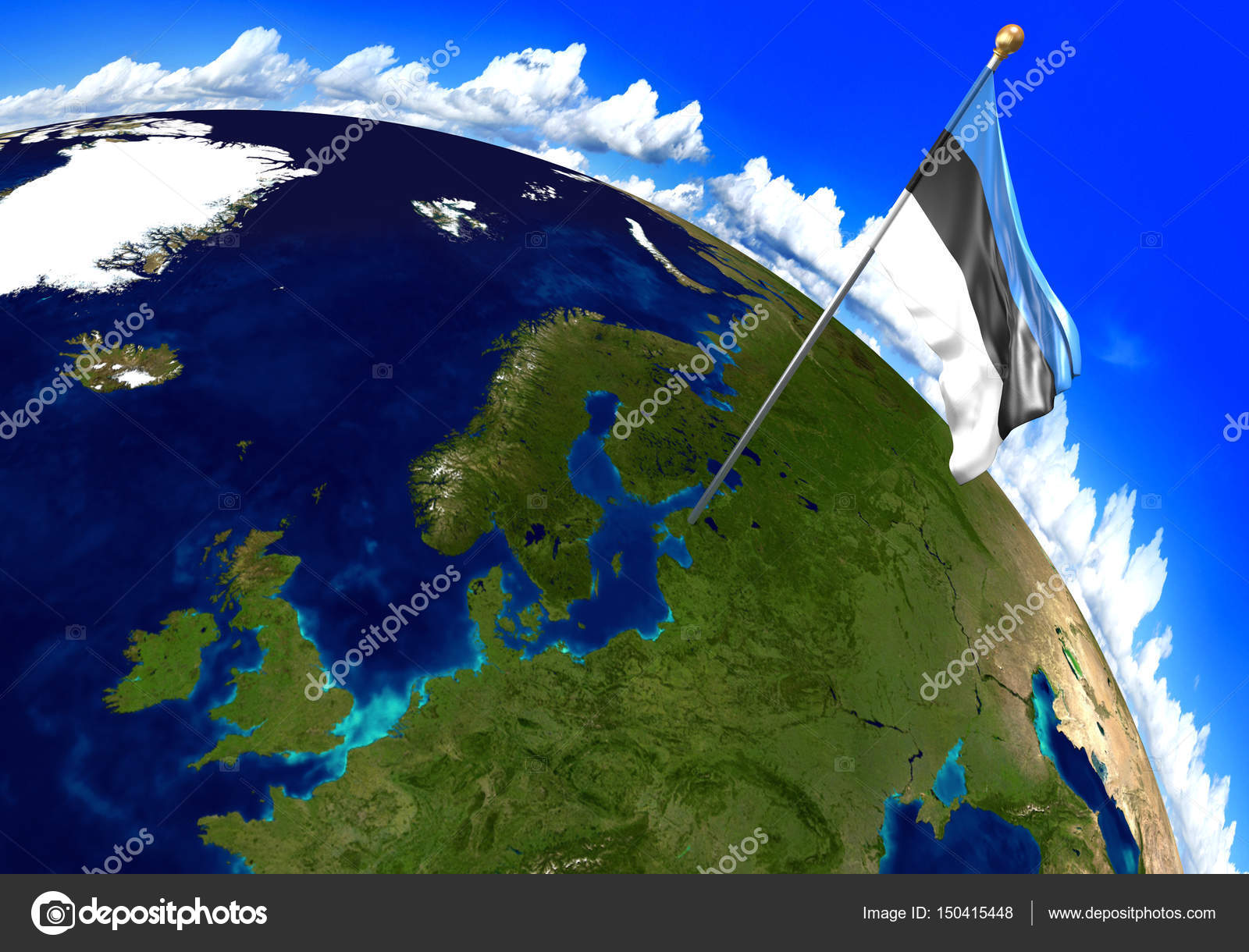Estonia national flag marking the country location on world map 3d 3d render of the national flag of estonia over the geographic location of the country on a world map parts of this image furnished by nasa gumiabroncs Images