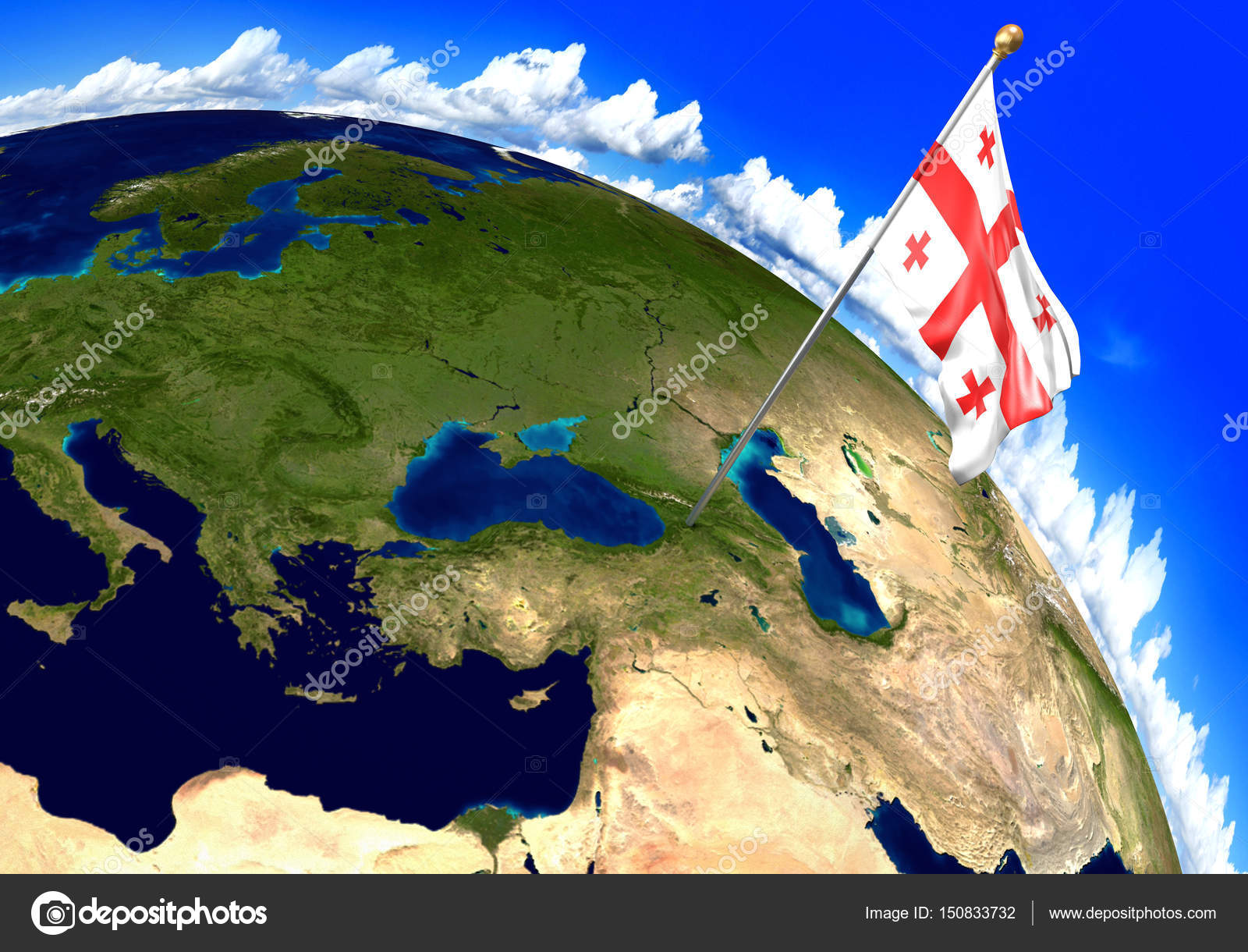 Georgia national flag marking the country location on world map 3d 3d render of the national flag of georgia over the geographic location of the country on a world map parts of this image furnished by nasa gumiabroncs Image collections