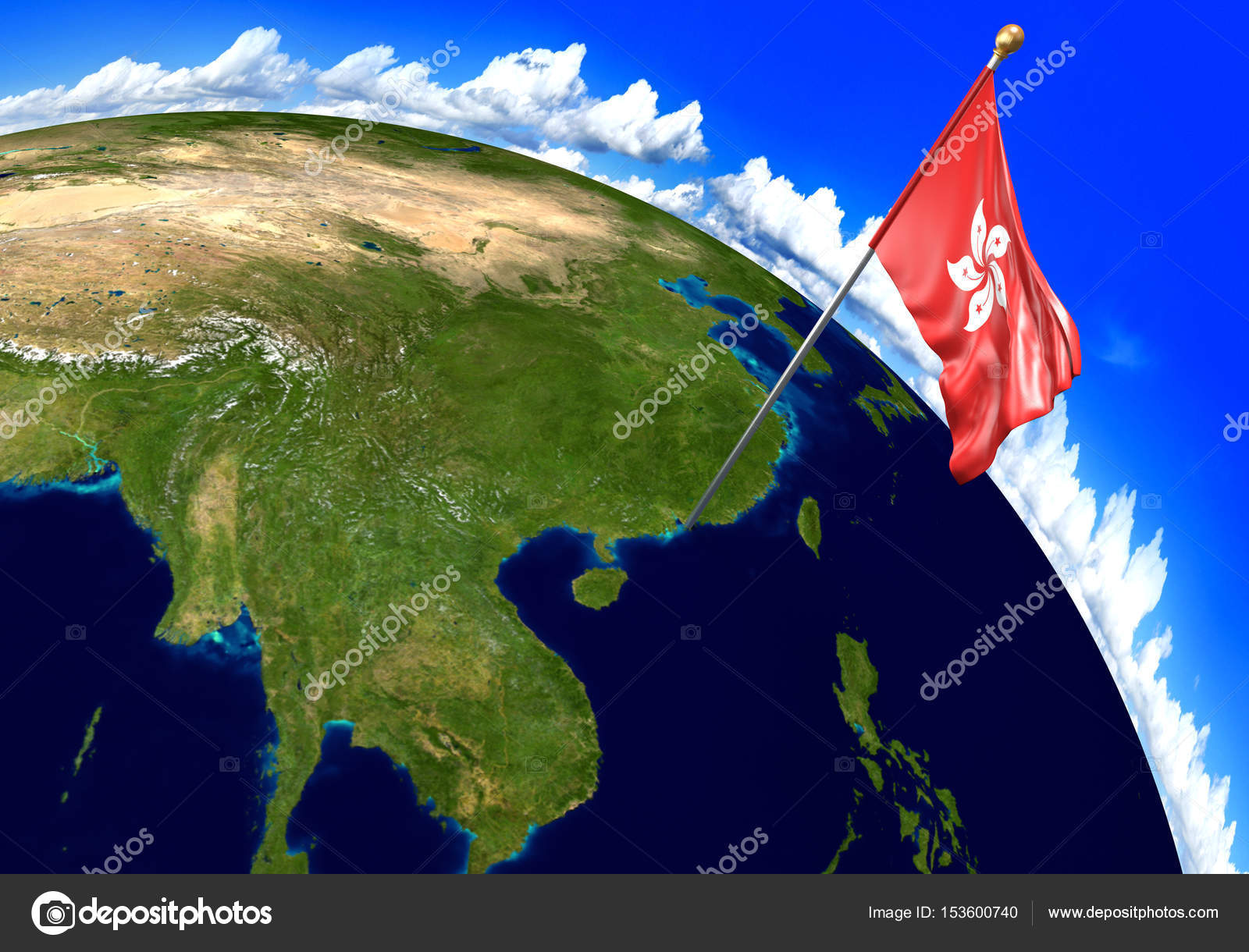 Hong kong national flag marking the country location on world map 3d render of the national flag of hong kong over the geographic location of the country on a world map parts of this image furnished by nasa gumiabroncs Images