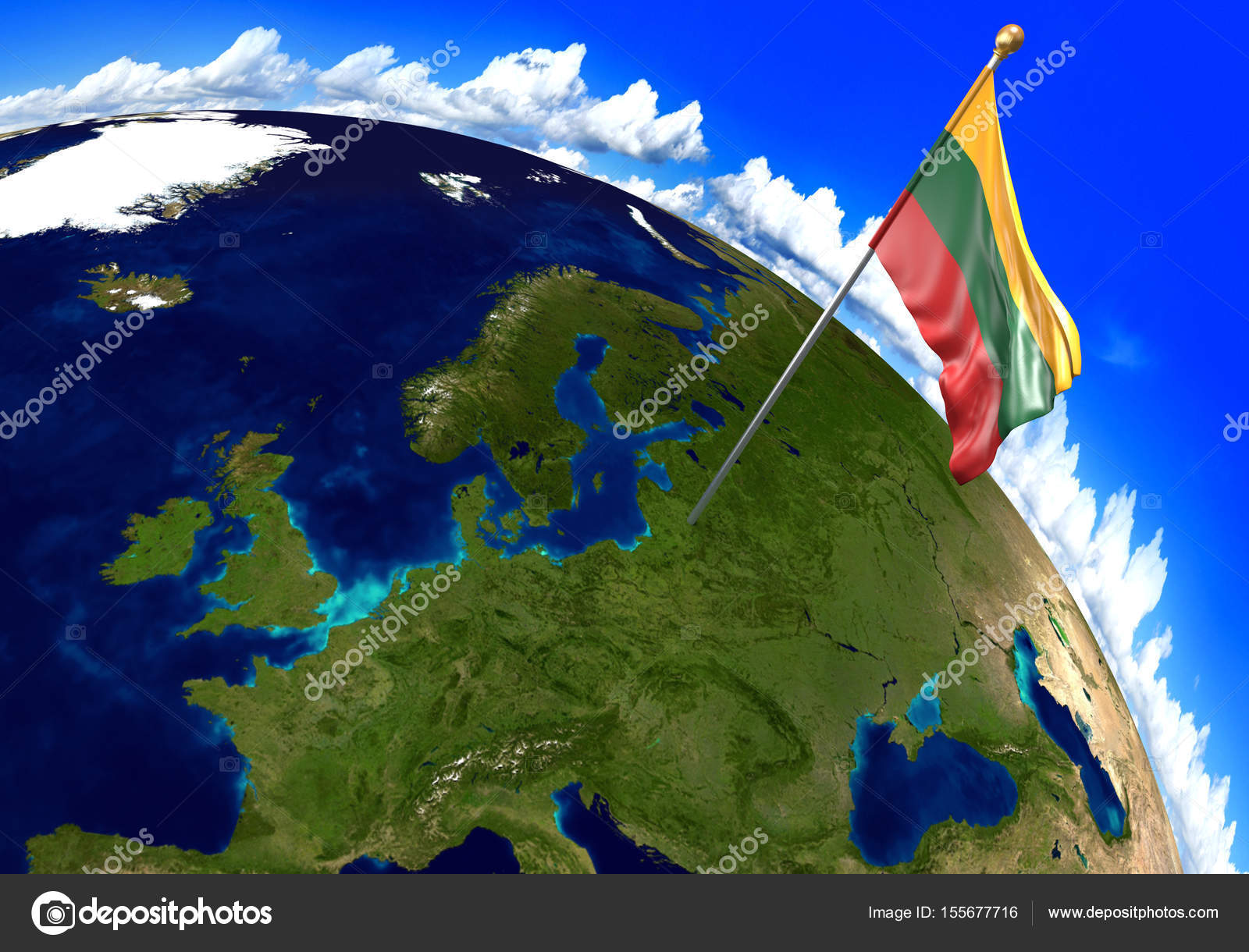 Lithuania national flag marking the country location on world map