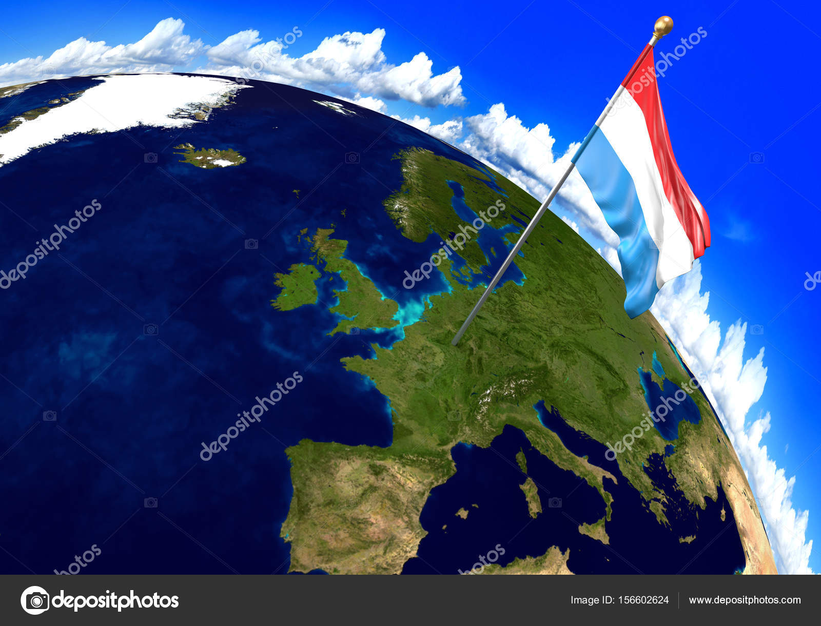 Luxembourg national flag marking the country location on ...