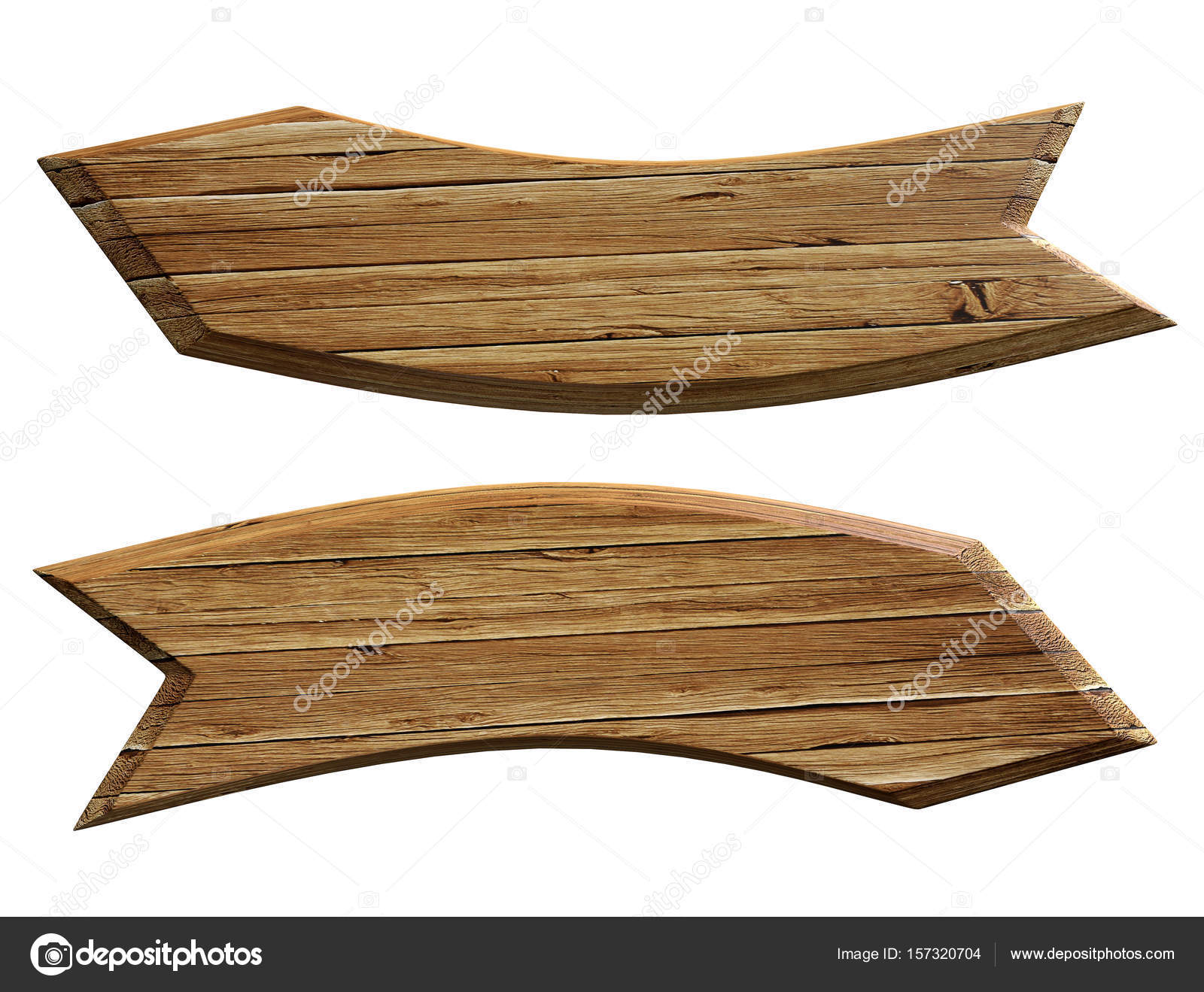 Two Wood Texture Advertising Sign Boards Shaped Like Curved Arrows