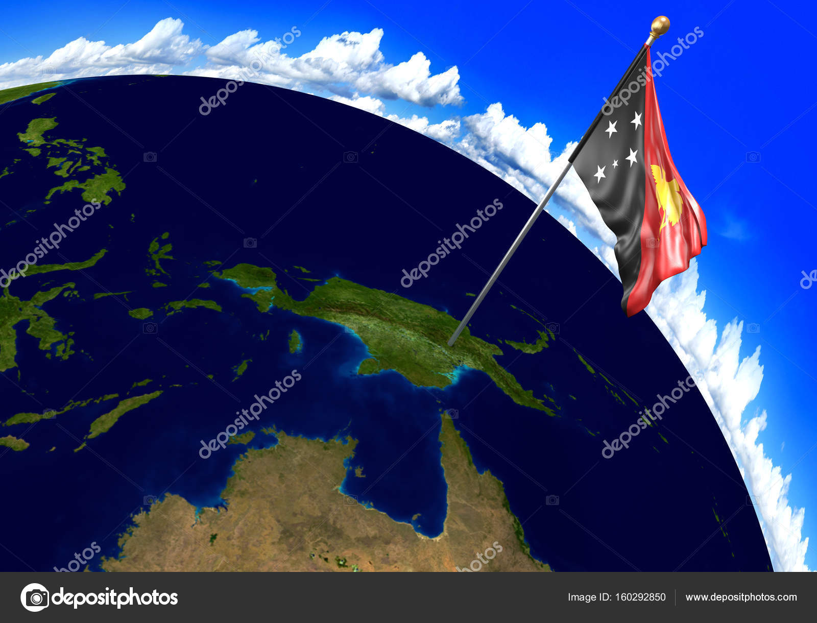Papua New Guinea National Flag Marking The Country Location On World