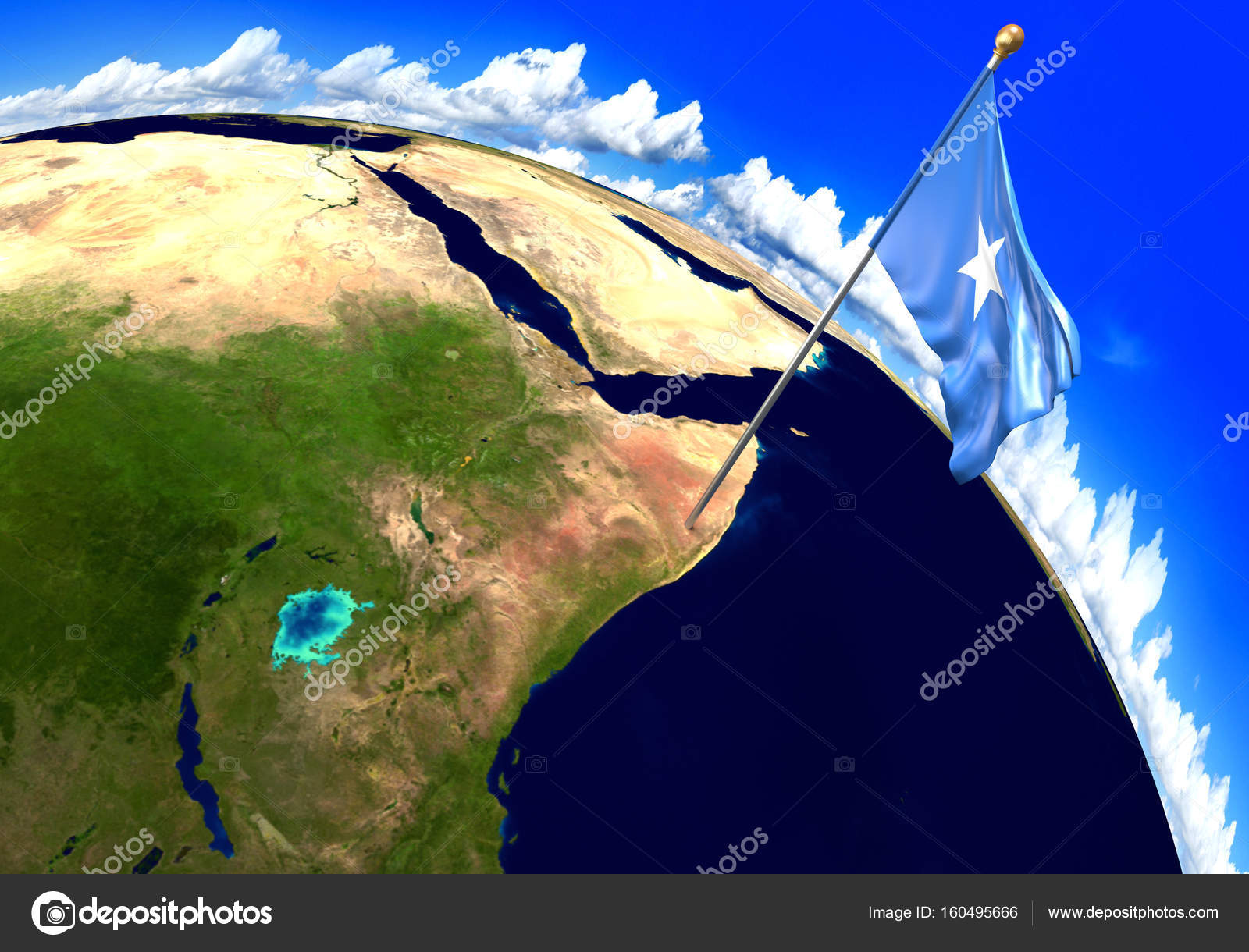 Somalia national flag marking the country location on world map ...