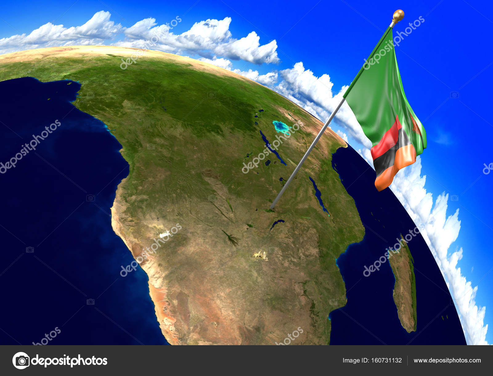 Zambia national flag marking the country location on world ...