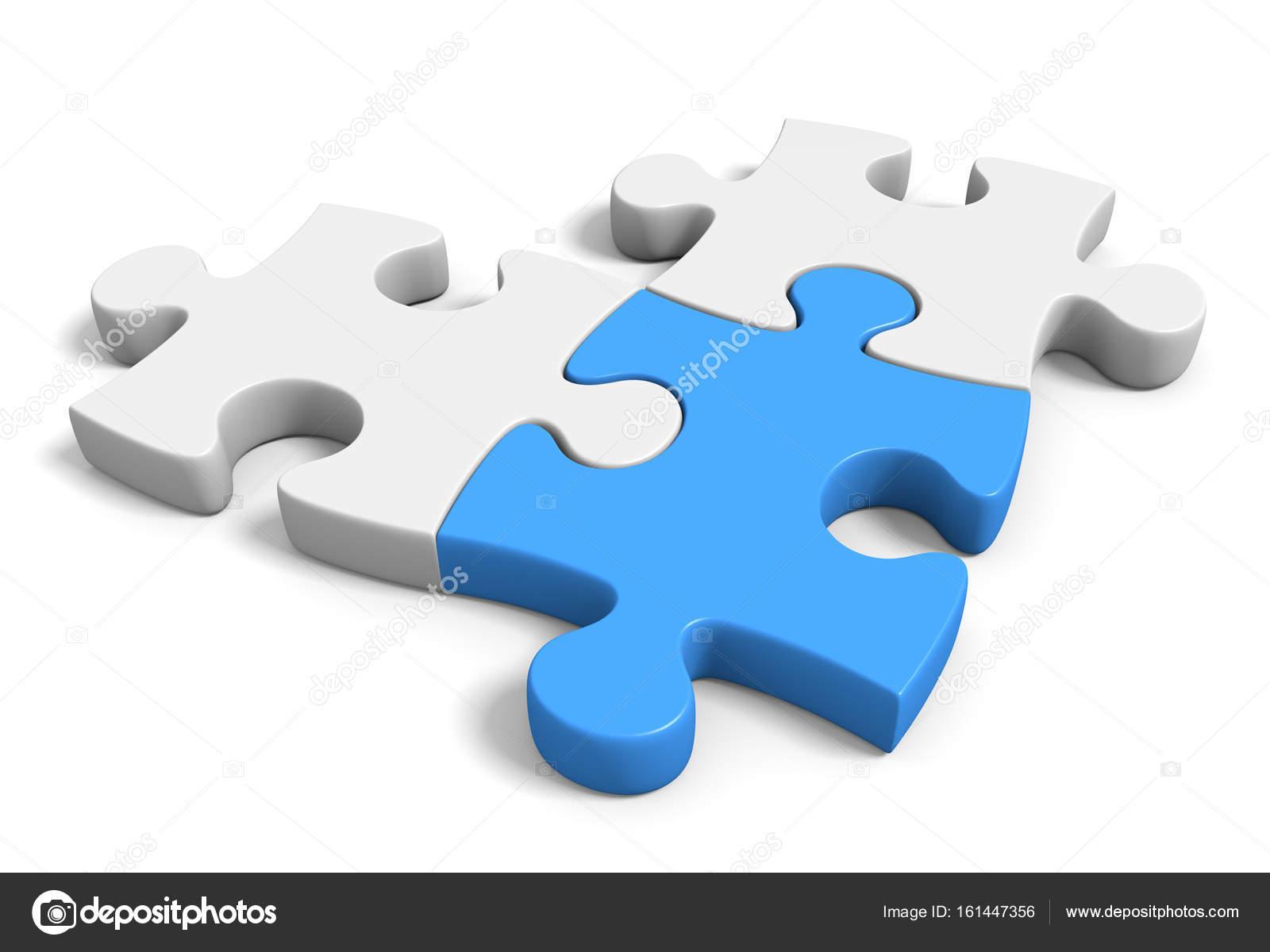 Tres Piezas De Rompecabezas Conectado Sobre Un Fondo