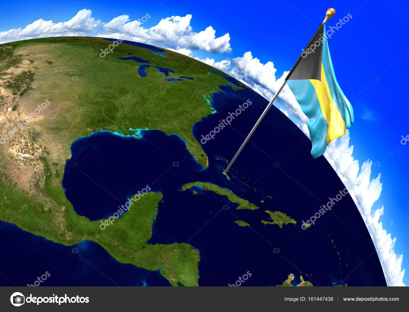 Carte Du Monde Bahamas.Drapeau National Bahamas Indiquant L Endroit De Pays Sur La