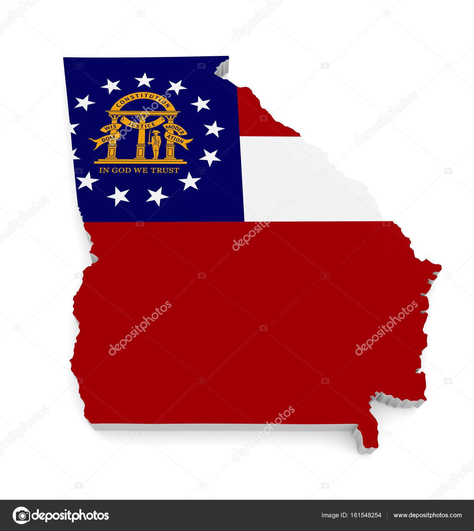 3d map of the us state of georgia bearing its official flag rendered over an all white background po by kagenmi