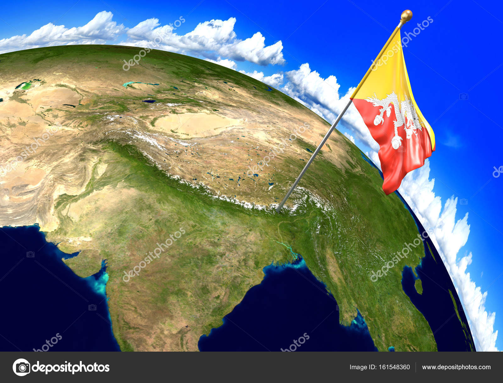 Bhutan national flag marking the country location on world ...