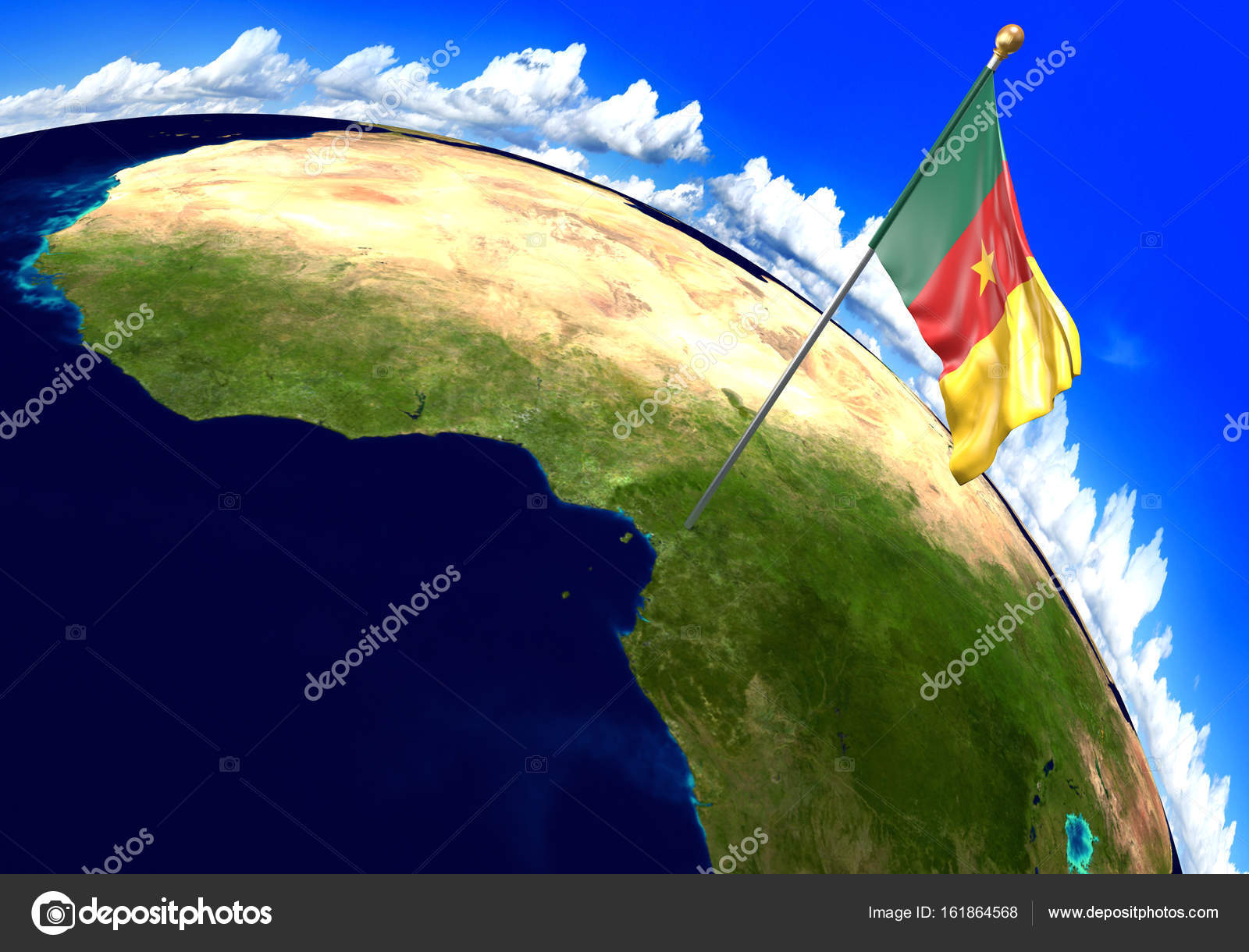 Cameroon national flag marking the country location on world map ...
