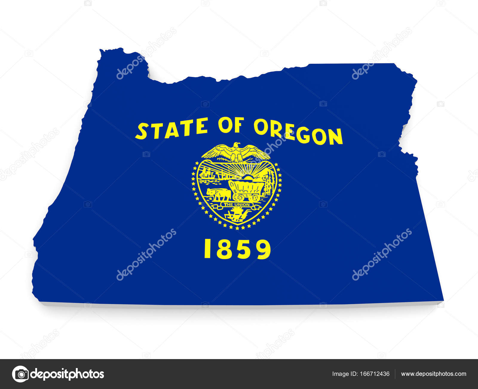 Geographic border map and flag of Oregon state isolated on a ...