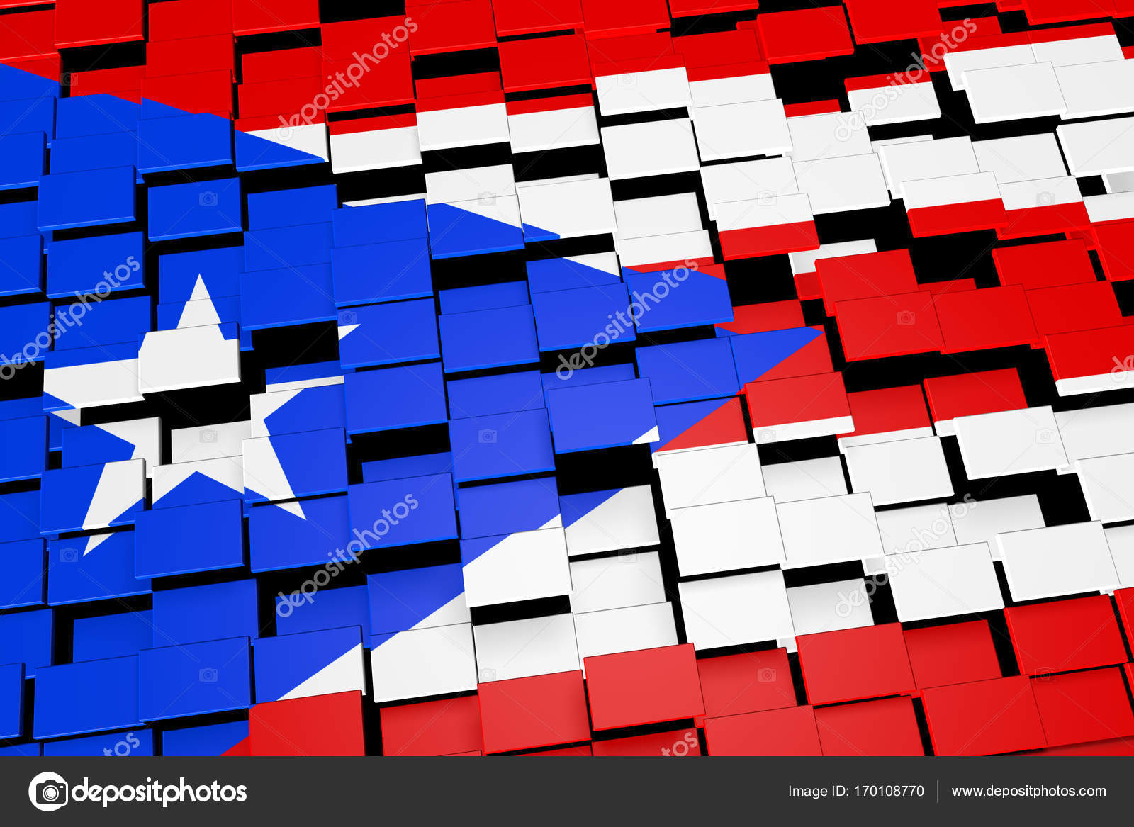 Puerto Rico Flag Background Formed From Digital Mosaic Tiles 3D Rendering Stock Photo