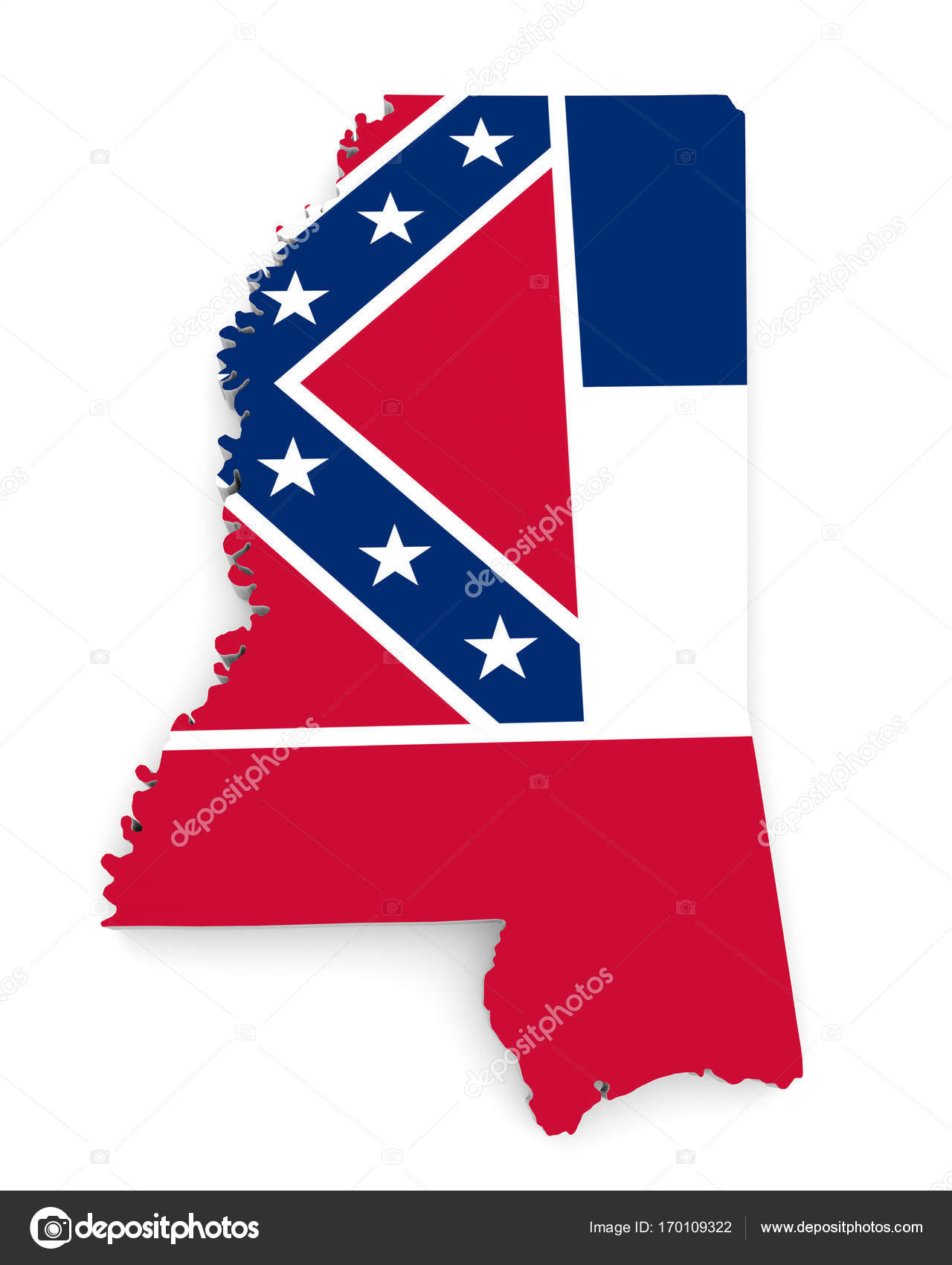 3d map of the us state of mississippi bearing its official flag rendered over an all white background po by kagenmi