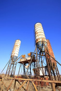 Concrete mixing tower. Concept of on-site construction facility
